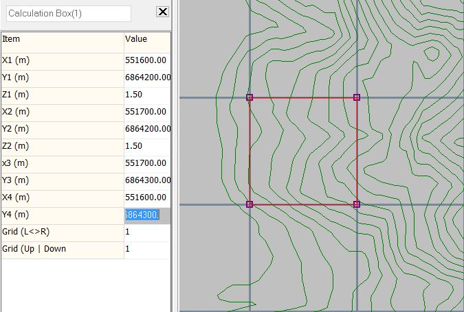 Step 3:  Digitise the calculation box, to align with the grid line and right-click to select properties
